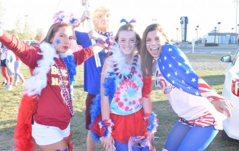 Fans Decked out in Red White and Blue at the Tailgate