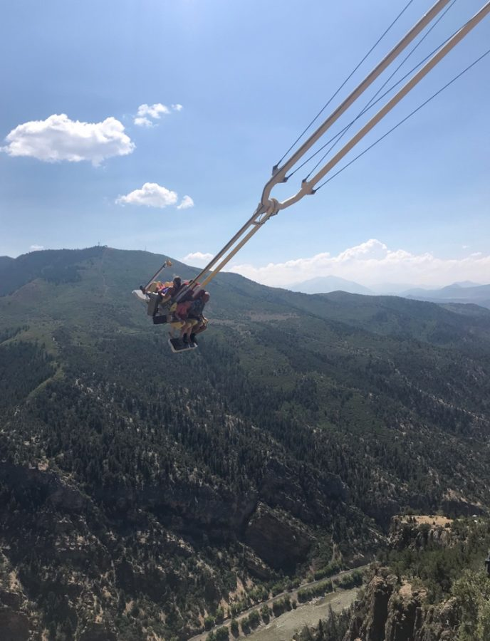 English teacher Amanda Flachsbart swings over the Grand Canyon.