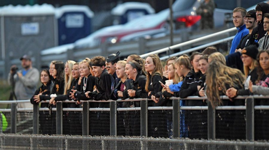 The Rowd Crowd at a boy's varsity soccer game.