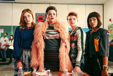 Picture of Veronica and the Heathers from the new Heathers TV show. From left to right: Grace Victoria Cox, Melanie Field, Brendan Scannell, Jasmine Matthews. Image via PressFrom.