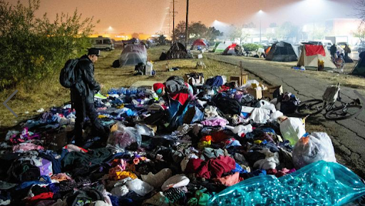 California residents forced out of their homes creating shelters elsewhere.