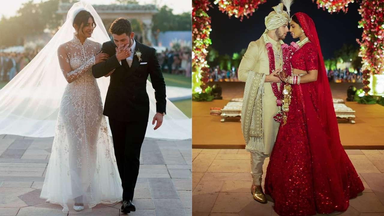 Priyanka and Nick posing together at their wedding ceremony