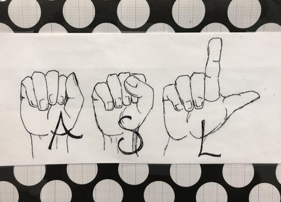 This ASL sign hangs outside the doorway of the classroom.