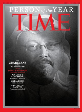 One of TIME Magazines covers, depicting Jamal Khashoggi, a journalist killed in Saudi Arabia in 2018.