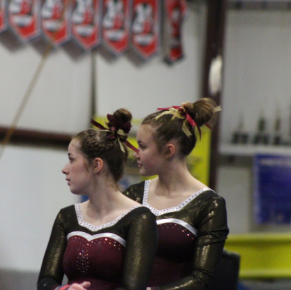 Patricia Gerich (left) and team captain, Erin Dunn (right) at a competition.