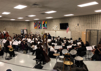 Eastern Regionals Orchestra rehearsing before the concert.