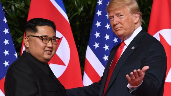 Kim+Jong+Un+and+Trump+at+the+summit+in+2019