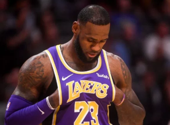 LeBron James sporting the purple and gold colors of his Lakers jersey