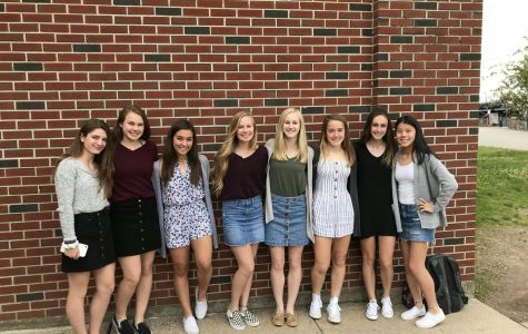 Just before changing into their uniforms, athletes (from left to right) Abby Grohs, Erin Dunn, Candace Walsh, Cora Brownbill, Jess Polito, Anna Armstrong, Rhianna O'meara, and Emma Metevier posed for a picture.