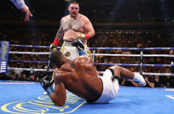 Andy Ruiz Jr. (standing) during his title fight against Anthony Joshua