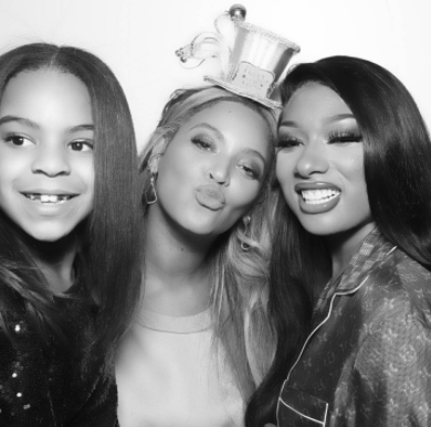 (left to right) Blue Ivy, Beyonce, and Megan Thee Stallion Source: @theestallion